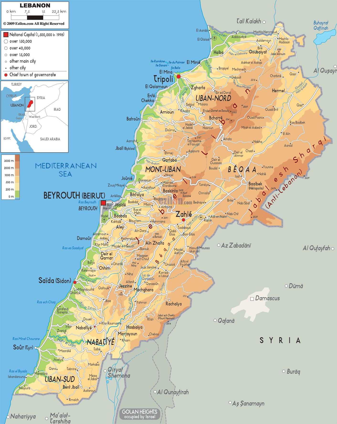 Cartina Fisica Del Libano.Libano Mappa Fisica Mappa Del Libano Fisica Asia Occidentale Asia