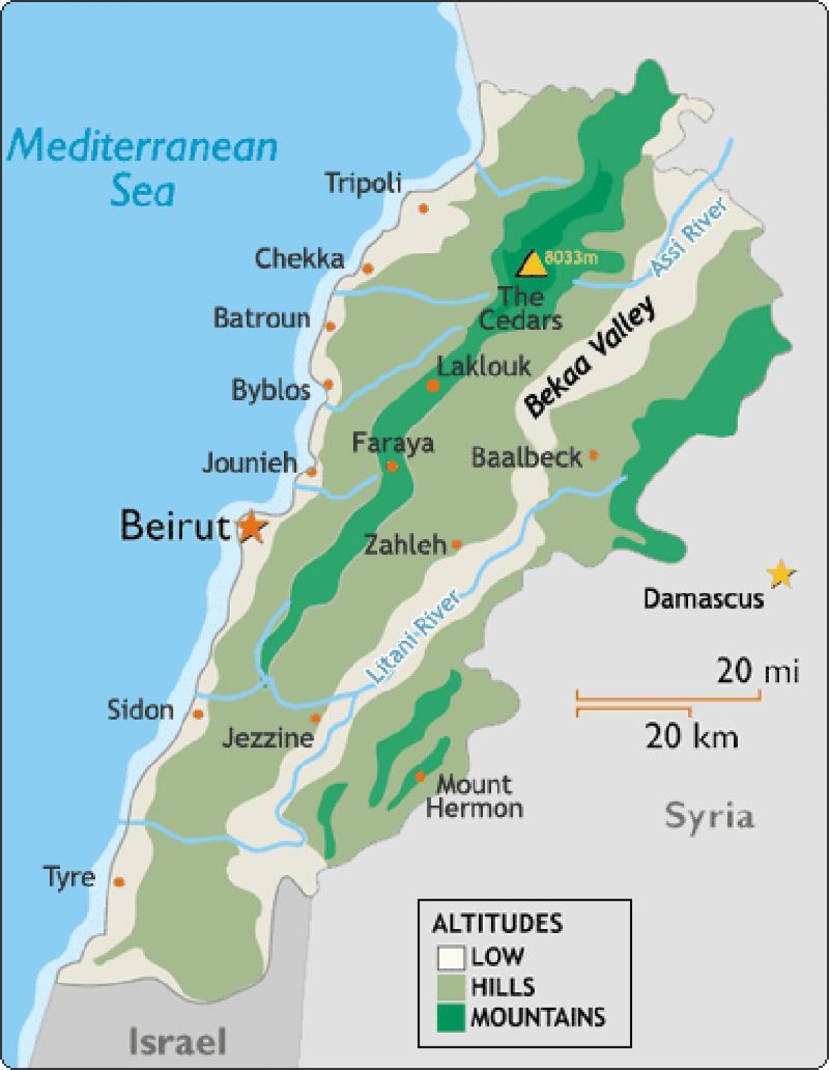 Cartina Del Libano.Libano Clima Sulla Mappa Mappa Del Libano Clima Asia Occidentale Asia