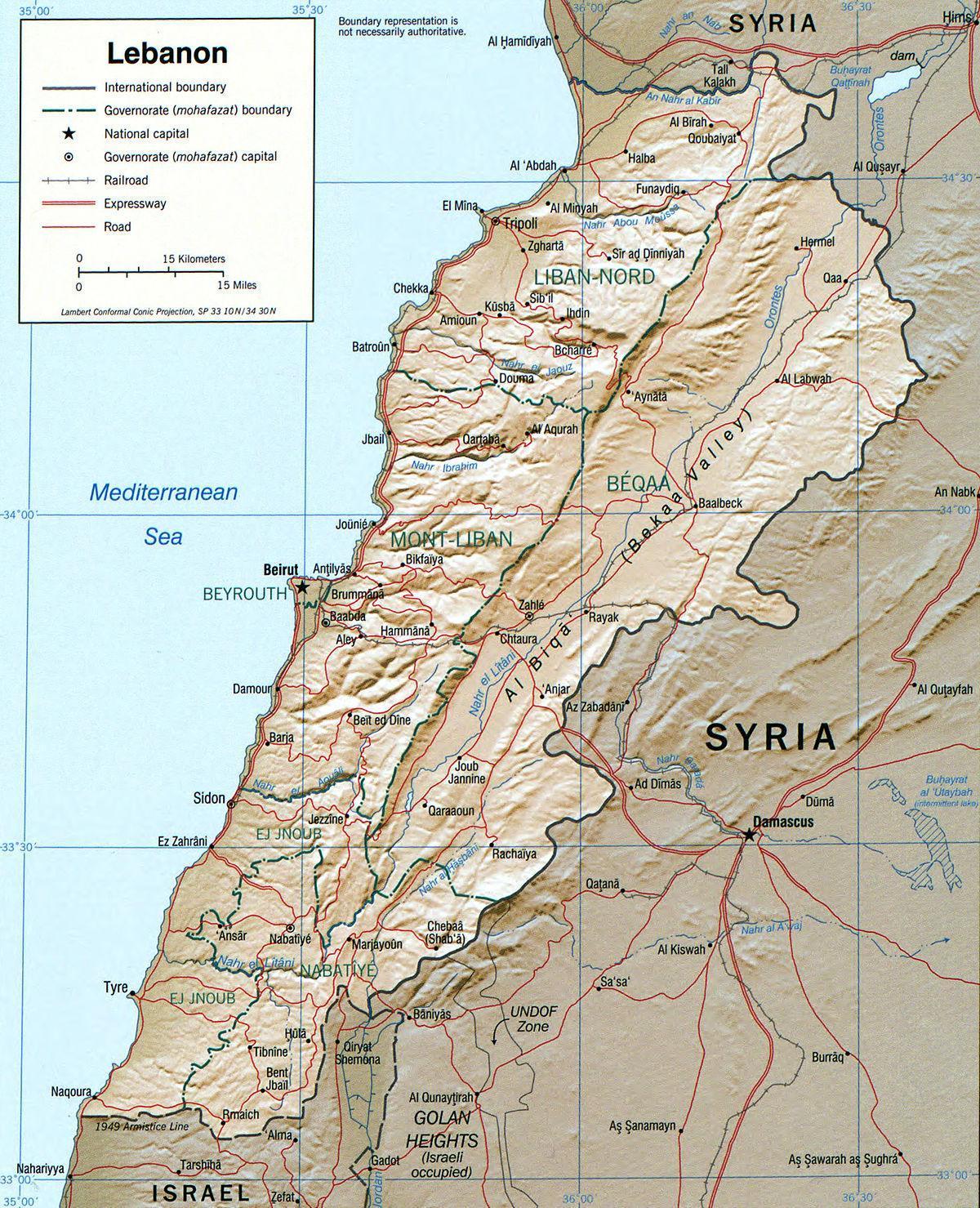 Cartina Del Libano.Libano Geography Map Mappa Del Libano Geografia Asia Occidentale Asia