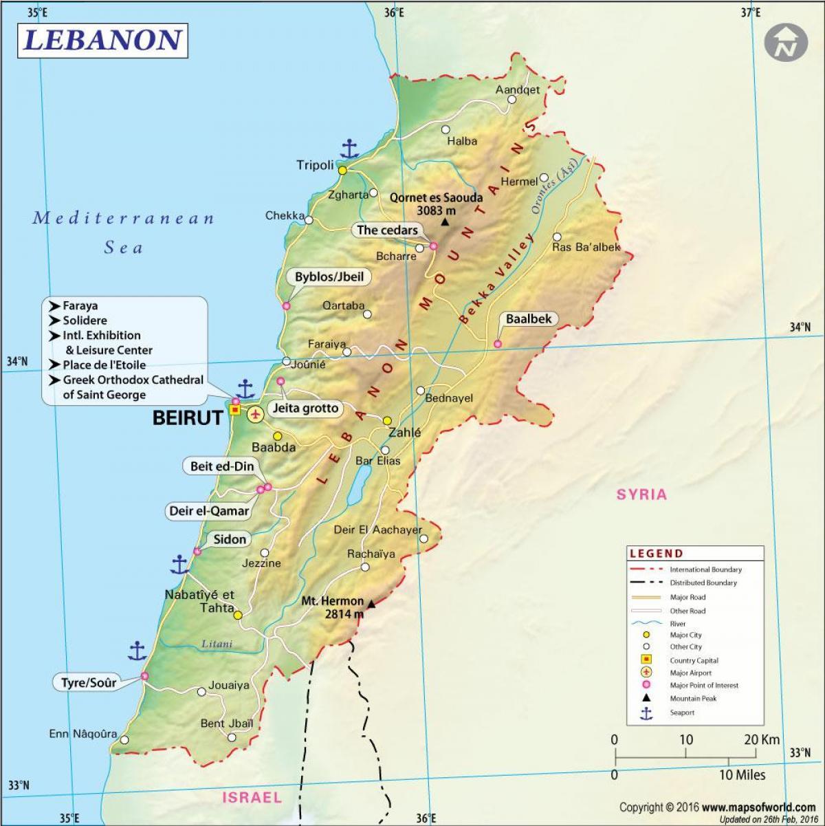 Cartina Fisica Del Libano.Libano Mappa Dell Europa Cartina Di Libano Europa Occidentale Asia Asia