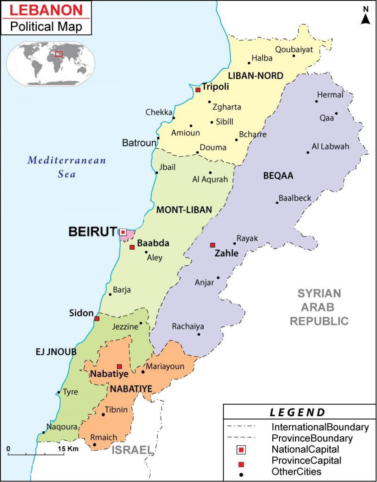 Cartina Fisica Del Libano.Libano Politico Sulla Mappa Mappa Del Libano Politico Asia Occidentale Asia