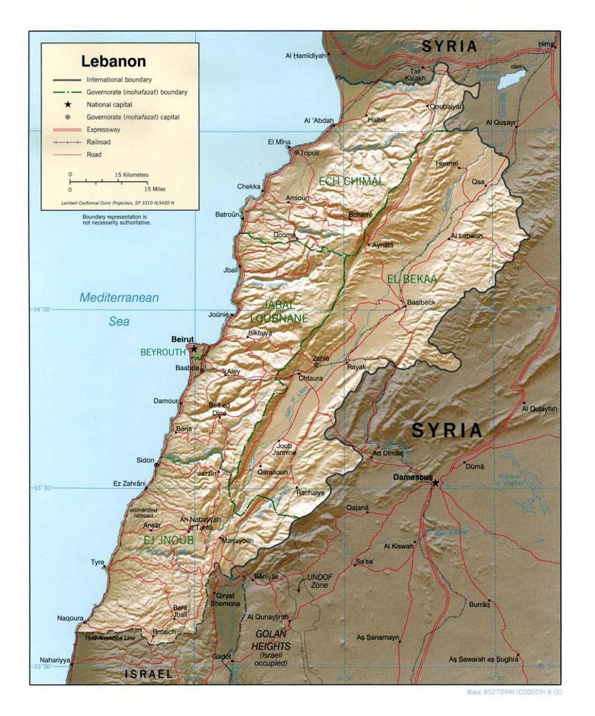 Cartina Del Libano.Libano Mappa Topografica Mappa Del Libano Topografica Asia Occidentale Asia