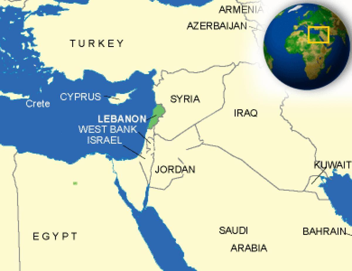 Cartina Del Libano.Mappa Del Libano Libano Sulla Mappa Asia Occidentale Asia